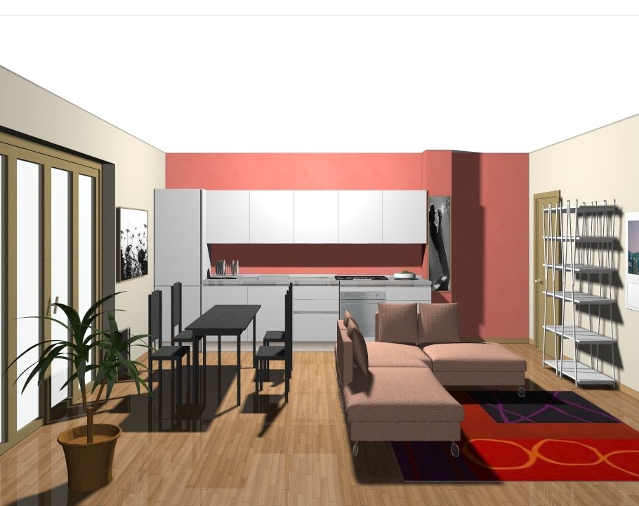 Cucina e soggiorno unico ambiente